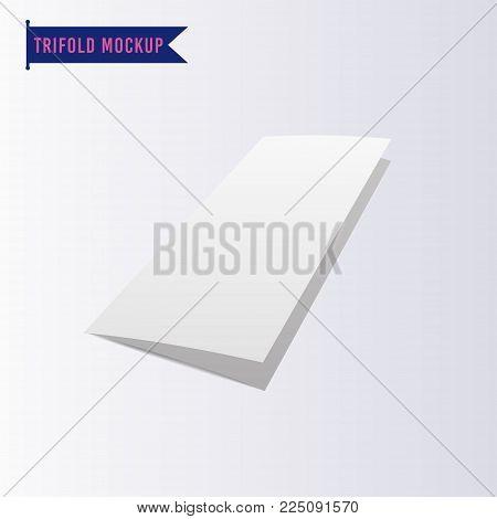 Blank TriFold Paper Mockup. Vector Illustration of Brand Identity Leaflet Design for Business Promotion.