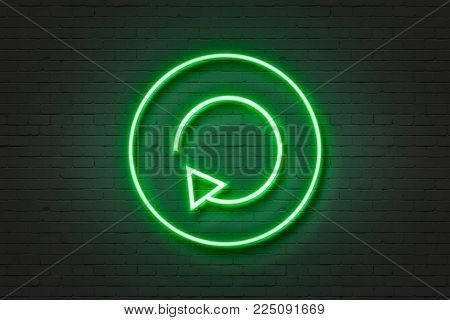 Neon green light icon transformation wall sign