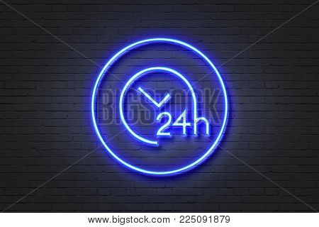 Neon blue light icon clock wall sign