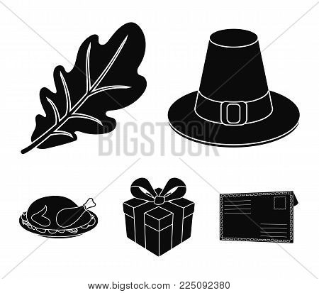 Hat of a pilgrim, oak leaf, gift in a box, fried turkey.Canada thanksgiving day set collection icons in black style vector symbol stock illustration .