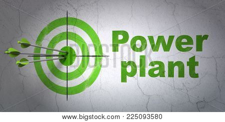 Success Manufacuring concept: arrows hitting the center of target, Green Power Plant on wall background, 3D rendering