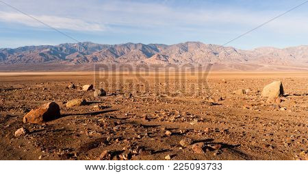 Lunar Looking Dry Arid Landscape In The Basin At Death Valley North America