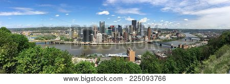 A Beautiful Blue Sky Clear Day Over The Downtown City Skyline In Pittsburgh Pa