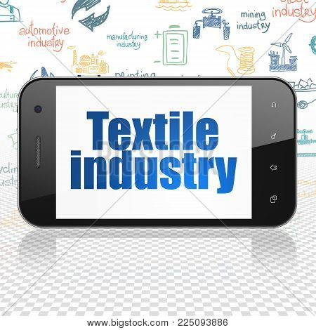 Industry concept: Smartphone with  blue text Textile Industry on display,  Hand Drawn Industry Icons background, 3D rendering