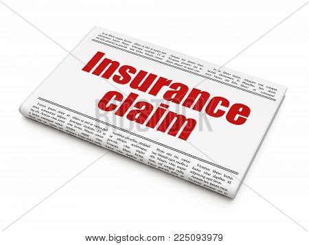 Insurance concept: newspaper headline Insurance Claim on White background, 3D rendering