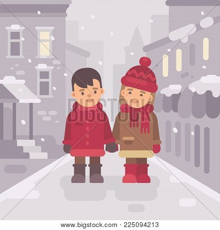 Cute little boy and girl walking together in a snow winter city street. Valentines day flat illustration banner. Christmas greeting card
