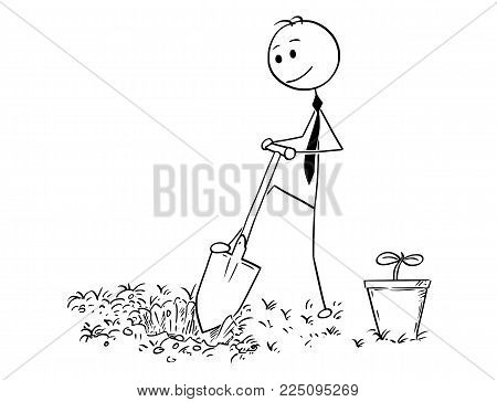Cartoon stick man drawing conceptual illustration of businessman digging hole to plant a tree. Business concept of investment, growth and success.