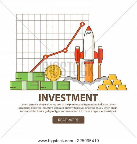 Investments business concept statistic gold and securities.Financial stock market profit.Start up of a rocket  and growth of indicators on graphics.launch Idea investing in innovation.Flat linear art