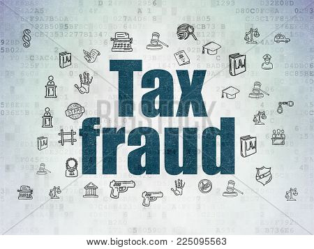 Law concept: Painted blue text Tax Fraud on Digital Data Paper background with  Hand Drawn Law Icons
