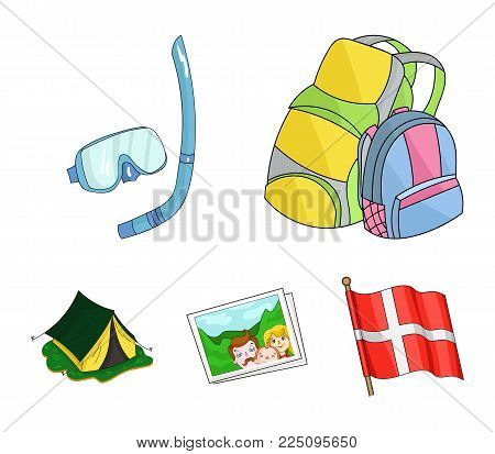 Travel, vacation, backpack, luggage .Family holiday set collection icons in cartoon style vector symbol stock illustration .