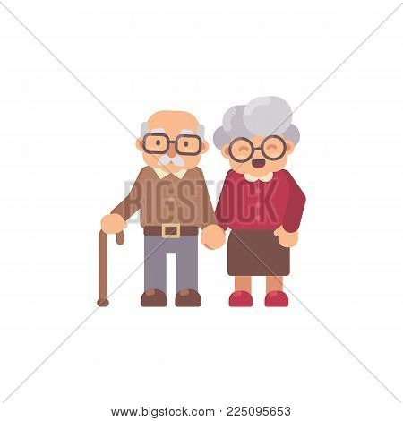 Old Man And Old Lady Flat Character Illustration. Happy Grandfather And Grandmother Together