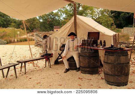 YORKTOWN, VA- OCTOBER 7: Historical reenactors at the American Revolution Museum at Yorktown help provide a fuller understanding of the American colonial experience October 7, 2017 in Yorktown, VA