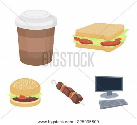 Sandwich, coffee, shish kebab, burger.Fast food set collection icons in cartoon style vector symbol stock illustration .