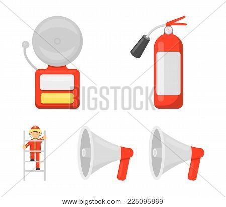 Fire extinguisher, alarm, megaphone, fireman on the stairs. Fire departmentset set collection icons in cartoon style vector symbol stock illustration .
