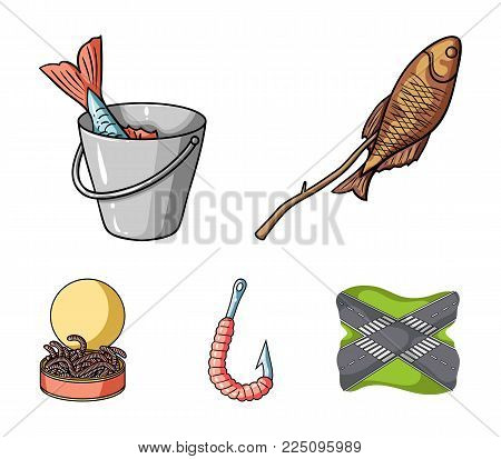 Fishing, fish, shish kebab .Fishing set collection icons in cartoon style vector symbol stock illustration .