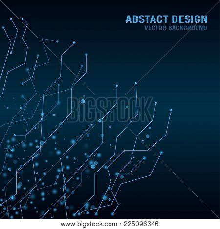 Abstract techno background with connecting dots. Vector illustration