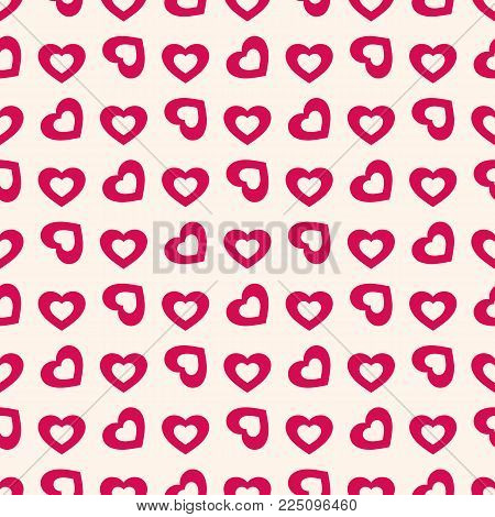 Valentines Day Background. Vector Seamless Pattern With Red Rotated Hollow Hearts On Beige Backdrop.