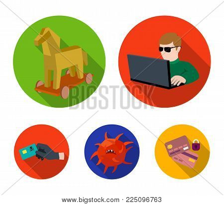 Hacker, hacking, system, internet .Hackers and hacking set collection icons in flat style vector symbol stock illustration .