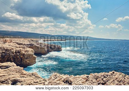 Big waves break about the Rocky Peninsula of Cape Lara in southern Akamas, Cyprus