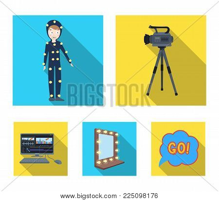 A movie camera, a suit for special effects and other equipment. Making movies set collection icons in flat style vector symbol stock illustration .