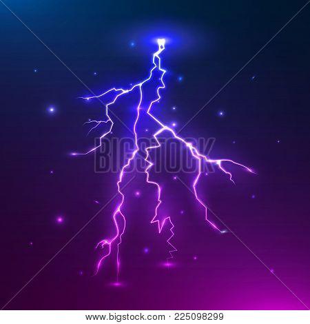Vector colorful lightning. Thunder storm and thunder bolt design. Electric flash. Vector illustration.