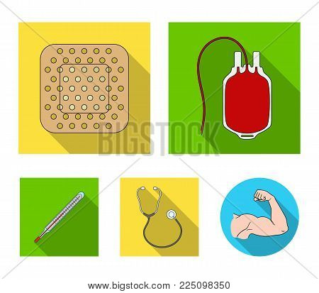 Package with donor blood and other equipment.Medicine set collection icons in flat style vector symbol stock illustration .