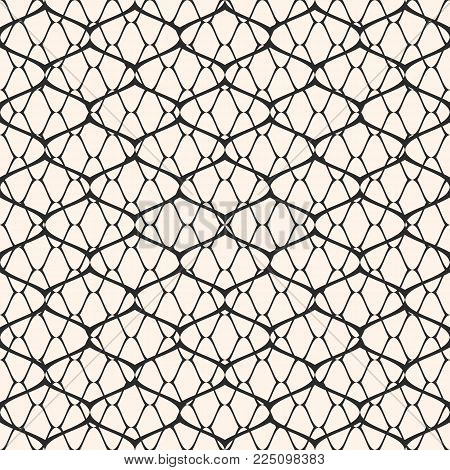 Vector Black And White Mesh Seamless Pattern. Subtle Abstract Geometric Ornament Texture With Thin C