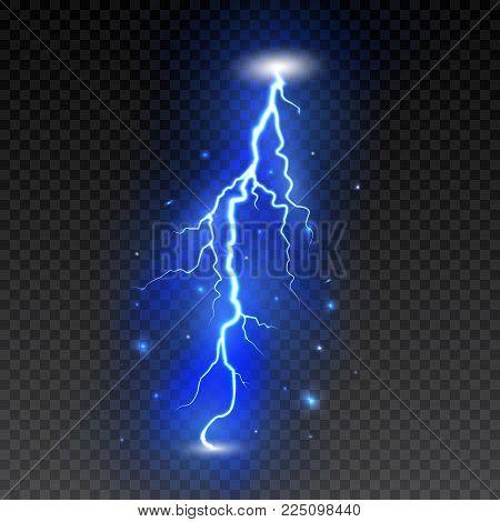 Bright lightning on transparent background. Electric flash. Thunder bolt and lightning. Vector illustration.