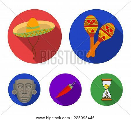 Maracas national musical instrument, sambrero traditional Mexican headdress, red pepper, bitter, idol-deity.Mexico country set collection icons in flat style vector symbol stock illustration web.