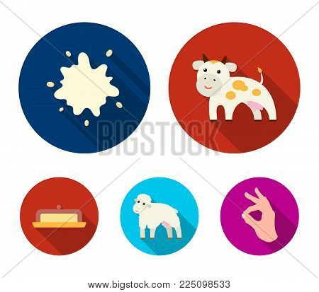 Cow, sheep, a drop of milk, butter. Milk set collection icons in flat style vector symbol stock illustration .