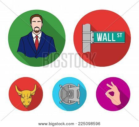 Wall Street, a businessman, a bank vault, a gold charging bull. Money and finance set collection icons in flat style vector symbol stock illustration web.
