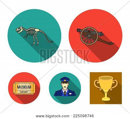 Gun on wheels, dinosaur skeleton, security guard in uniform, admission ticket. Museum set collection icons in flat style vector symbol stock illustration .
