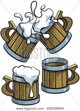 Vector colourful illustration of wooden beer mugs, isolated on white background. File doesn't contains gradients, blends, transparency and strokes or other special visual effects. You can open this file with any vector graphics editors.