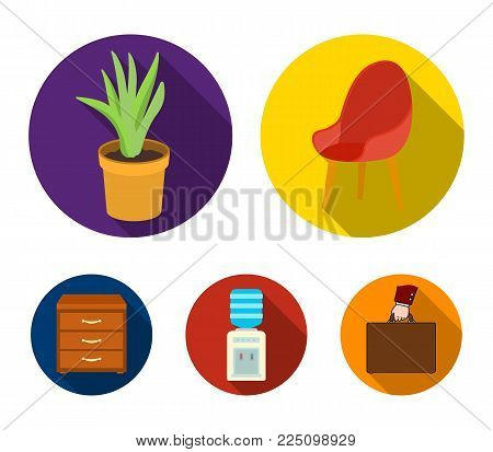 A red chair with a comfortable back, an aloe flower in a pot, an apparatus with clean water, a cabinet for office papers. Office Furniture set collection icons in flat style vector symbol stock illustration web.