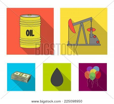 Pump, barrel, drop, petrodollars. Oil set collection icons in flat style vector symbol stock illustration .