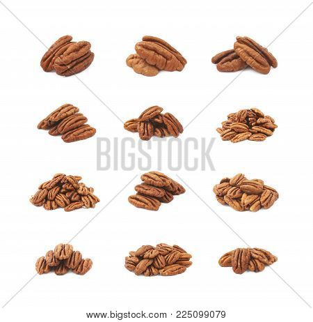Pile of pecan nuts isolated over the white background, set of twelve different foreshortenings