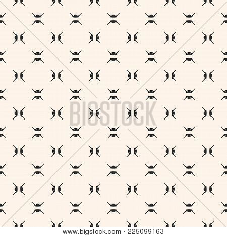 Abstract Geometric Seamless Pattern With Small Carved Cross Shapes. Black And White Ornamental Textu
