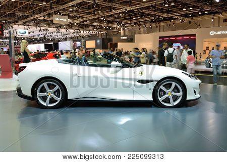 DUBAI, UAE - NOVEMBER 17: The Ferrari Portofino  sportscar is on Dubai Motor Show 2017 on November 17, 2017