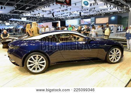 DUBAI, UAE - NOVEMBER 18: The Aston Martin DB 11 sports car is on Dubai Motor Show 2017 on November 18, 2017