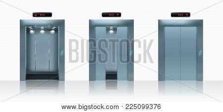 Open and closed realistic elevator doors. Vector illustration
