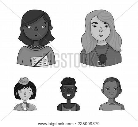 A journalist with a microphone with a badge, a teacher with a pointer in beads, a stewardess in a pilot's cap, an athlete with a bandage on her head.People of different professions set collection icons in monochrome style vector symbol stock illustration