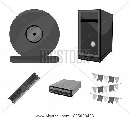 System unit, memory card and other equipment. Personal computer set collection icons in monochrome style vector symbol stock illustration .