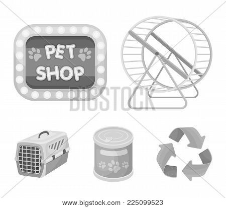 Container for carrying animals and other attributes of the zoo store. Pet shop set collection icons in monochrome style vector symbol stock illustration web.