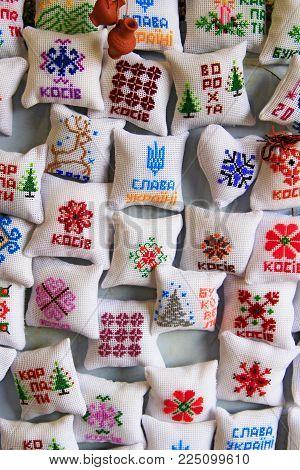 Ivano-frankivsk / Ukraine - 22 October 2017 / Ukraine: Souvenir Pads With Ukrainian Patterns Symbols