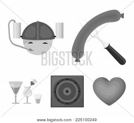 Fried sausage, beer helmet, cocktails, speaker.Pub set collection icons in monochrome style vector symbol stock illustration .