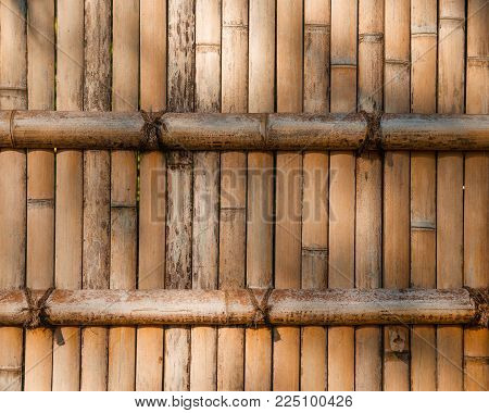 Japanese bamboo cane wall stockade as background