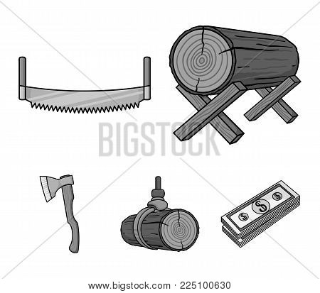 Log on supports, two-hand saw, ax, raising logs. Sawmill and timber set collection icons in monochrome style vector symbol stock illustration .