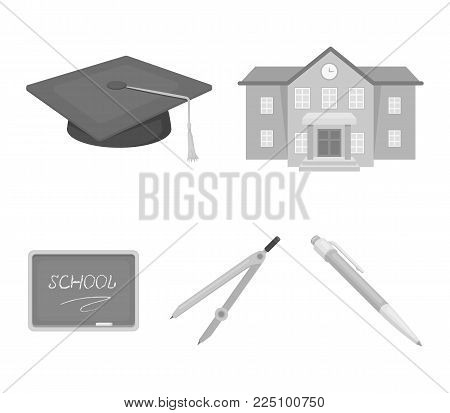School building, college with windows, a master's or applicant's hat, compasses for a circle, a board with a chalk school inscription. School and education set collection icons in monochrome style vector symbol stock illustration .