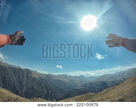 Journey extreme trip with dirtbike in the mountain adn blue sky birds eagle