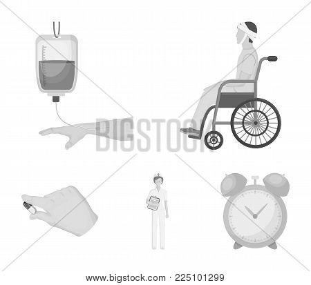 Invalid with trauma, blood transfusion, doctor, medication in the hands of a doctor. Medicineset collection icons in monochrome style vector symbol stock illustration .